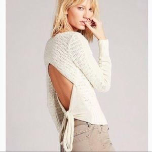 Free People Beige/Cream Open Back Sweater Sz.M